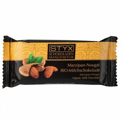 BIO-Milchschokolade gefüllt mit Marzipan-Nougat-Ganache 70g