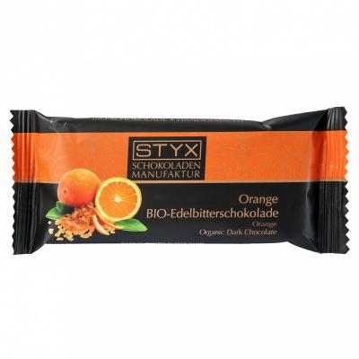 BIO-Edelbitterschokolade gefüllt mit 70% Orange-Ganache, alkoholhältig 70g