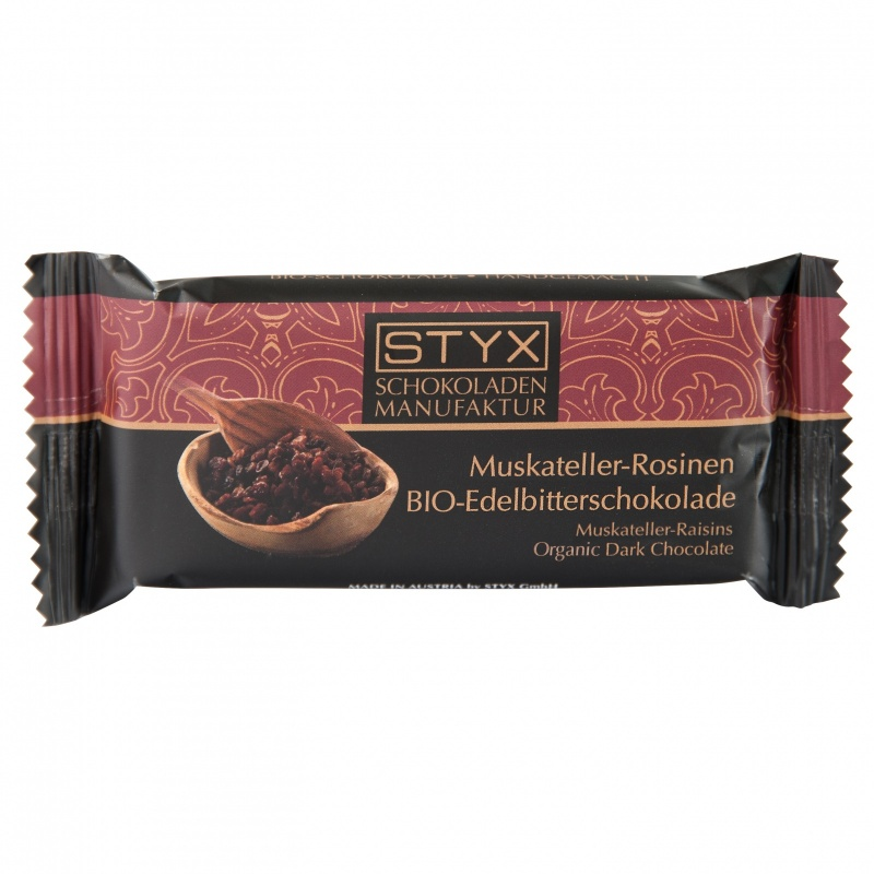 BIO-Edelbitterschokolade gefüllt mit 70% Muskateller-Rosinen-Ganache 70g