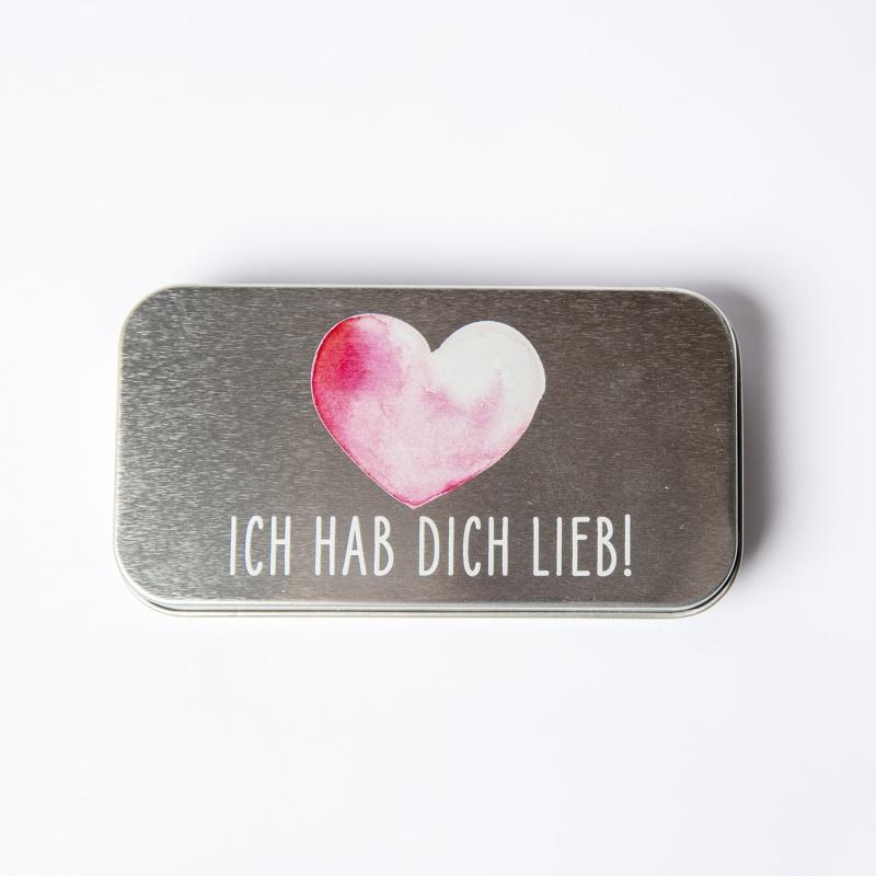 Metalletui für 70g Schokolade ICH HAB DICH LIEB