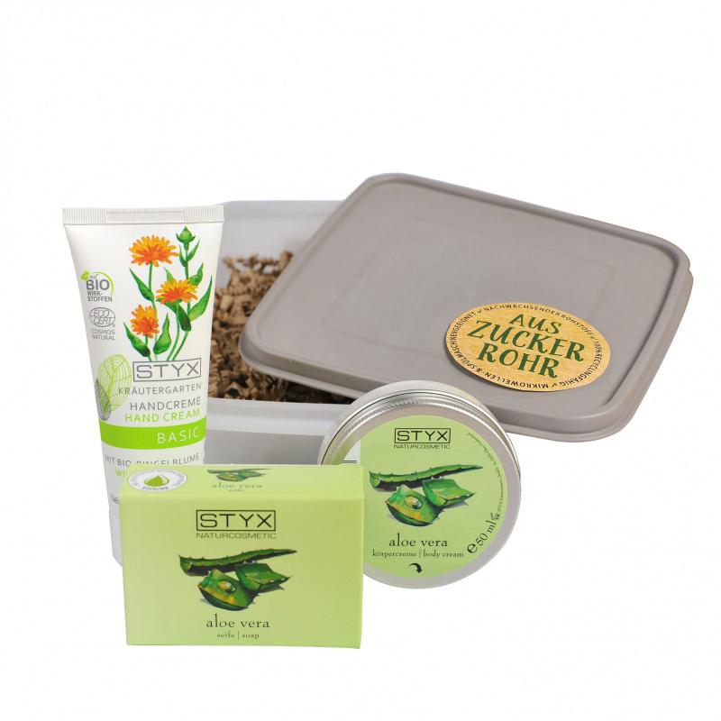Aloe Vera & Ringelblume in der Zuckerrohrbox