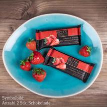 BIO-Edelbitterschokolade gefüllt mit 70% Erdbeer- & Roséwein-Ganache 70g